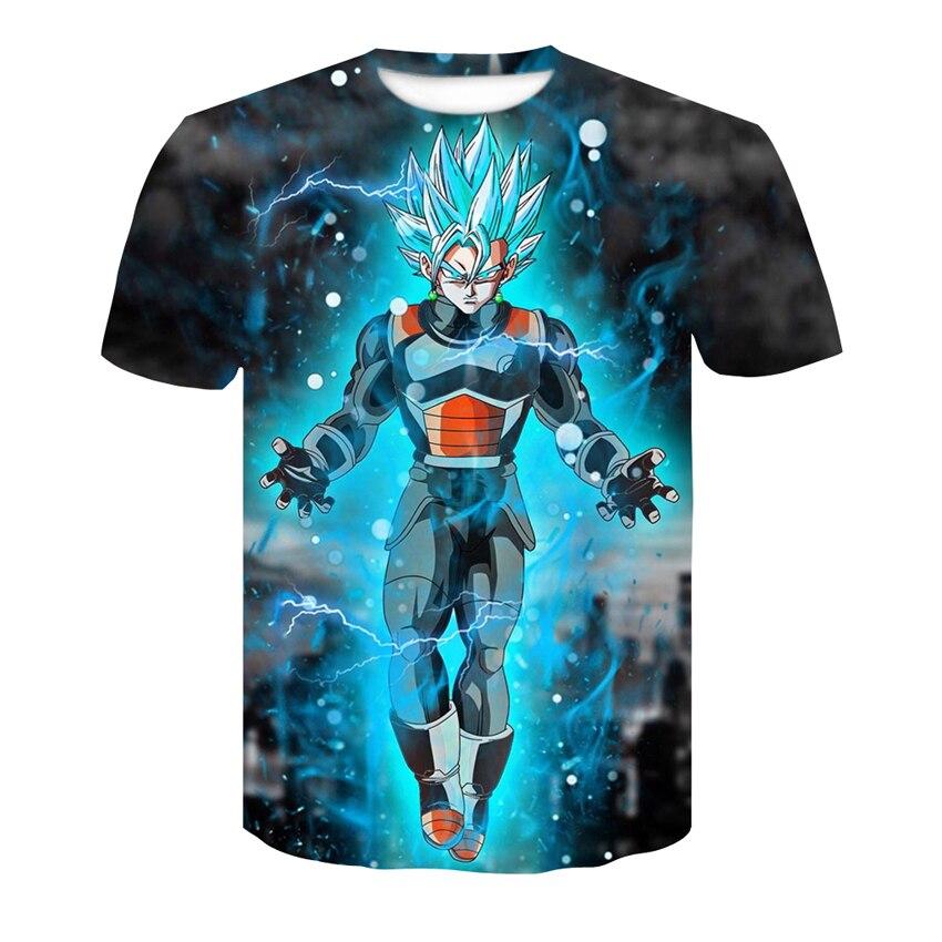 Red spy new fashion hot design Mens T-shirt 3D Dragon Ball Z lightning warrior anime Tops men and women plus size T-shirt AE100