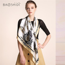 [BAOSHIDI]2016 Autumn New Arrival,16m/m Pure Silk hijab scarf Women,Infinity 90*90 Scarves,luxury brand scarfs for elegant lady