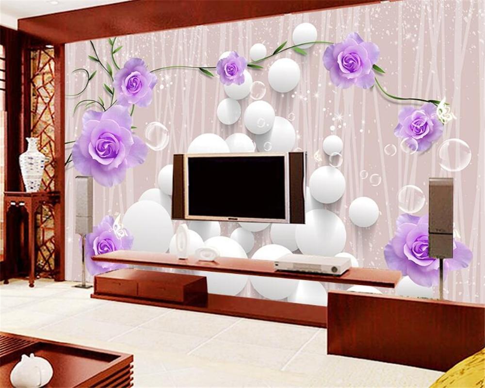 Purple Wallpaper Bedroom Online Buy Wholesale Purple Rose Wallpaper From China Purple Rose