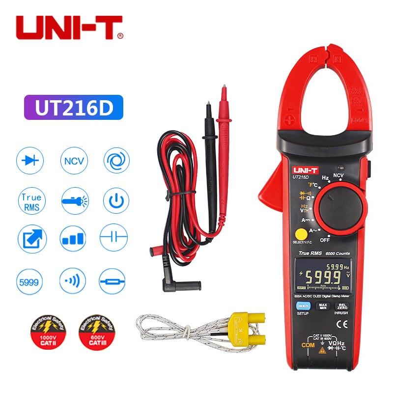 UNI T UT216D 600A True RMS Digital Clamp Meters AC/DC Current V/A Capacitance for AC Current Measurement