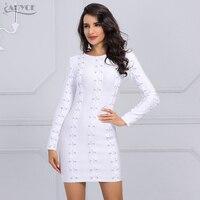 Adyce 2017 Elegant Autumn Dress Chic White Lace Up O Neck Long Sleeve Party Dress Sexy
