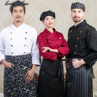 The New Hotel kitchen uniforms Western restaurant chef long sleeves / short sleeves men / women with the same paragraph overalls