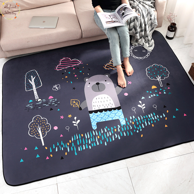 Infant Shining Baby Play Mats Children Cartoon Carpet Suede Large Rugs Living Room Children Bedroom Thicking Blanket in Carpet from Home Garden
