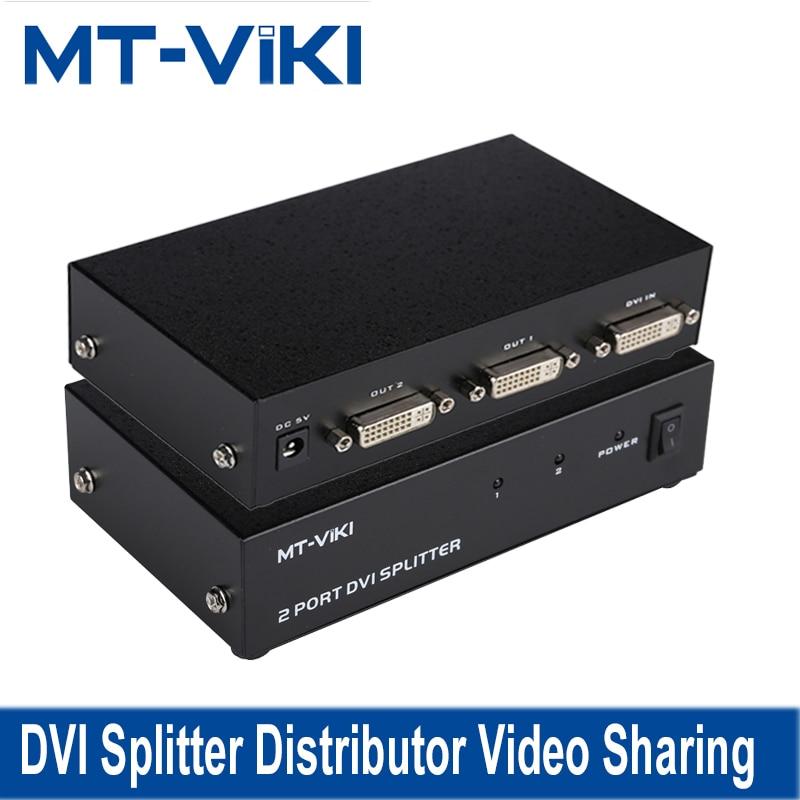 MT-VIKI DVI Splitter Distributor Video Sharing 2 Port 1 input to 2 output multiple HDTV monitor Synch Display MT-DV2H