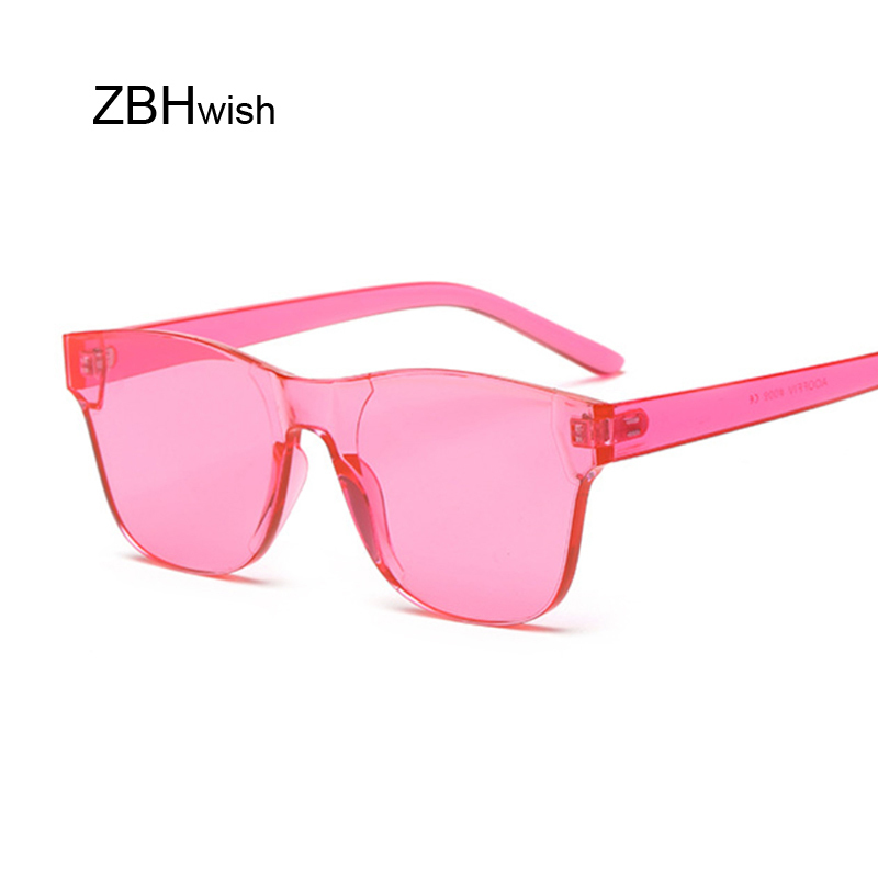 Colorful Square Sunglasses Women Glasses Rimless Sun Glasses For Men Siamese Candy Sunglass Frameless Red Green Grey Eyewear