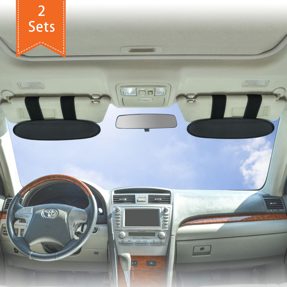 Sunshades For Cars >> Us 19 5 Wanpool Anti Glare Anti Dazzle Vehicle Visor Sunshade Extender Sun Blocker For Cars Vans And Trucks Silver 2 Pieces In Holsters Clips