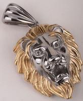 Huge Lion Men Necklace Stainless Steel 316L Pendant W Chain GN06 Biker Jewelry Wholesale Dropship Gold