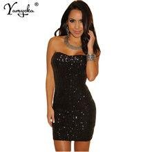 Сексуальное летнее черное платье без бретелек с блестками женское