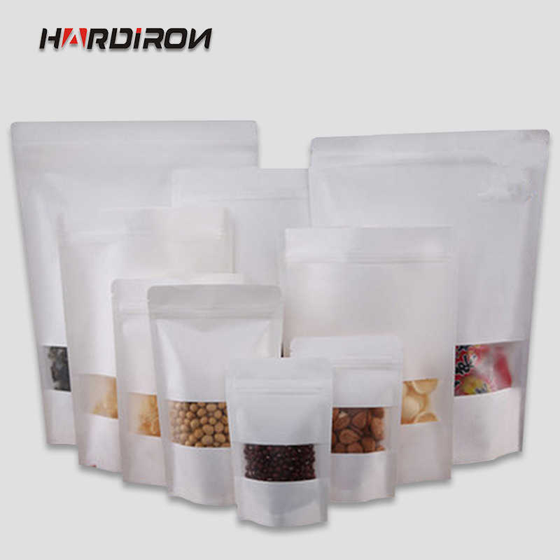 HARDIRON 0.28mm Thick White Standing Kraft Paper Zipper Pouch Candy Food With Frosted Window Reclosable Sealed Packaging Bag