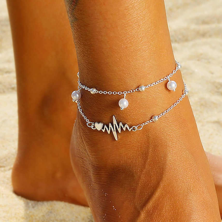 Moda srebrne obrączki bransoletka dla kostki kobiet symulacja Pearl serce koraliki Anklet kobiety łańcuszek na nogę Bohemian Wave Foot biżuteria