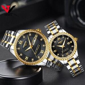 Image 4 - Nibosi unisex amante relógios marca superior de luxo relógio masculino e relógios feminino à prova dwaterproof água relógio de quartzo senhora cristal