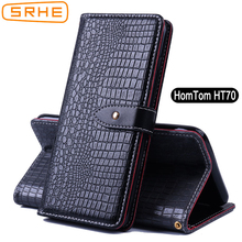 SRHE For HomTom HT70 Case Cover Flip Luxury Leather Silicone Card Wallet Stand With Magnet Holder