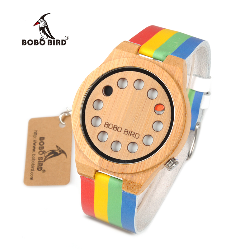 BOBO BIRD WA01 Bamboo Wooden Watch Colorful Leather Band 12 Holes Dial Face Classic Wood Watches