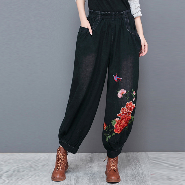 d4d47b82f9a45 Casual jeans denim plus size elastic waist embroidery harem pants for women  cotton blend autumn spring high waist yfq0708