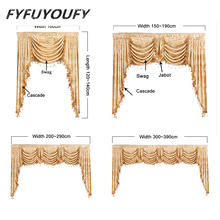 European luxury elegant Embroidered curtain and Valance for Living Room French Windows curtains can Customized