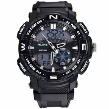 2018 ALIKE Men S Shock Outdoor Sports Watches Quartz Hour Digital Watch Military 50m Waterproof Wrist Watch LED Clock kol saati