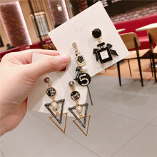 Korean Vintage Number 5 Geometric White Black Women Girls Dangle Drop Earrings Fashion Jewelry Accessories-QQD5