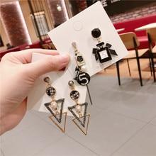 Korean Vintage Number 5 Geometric White Black Women Girls Dangle Drop Earrings Fashion Jewelry Accessories-QQD5