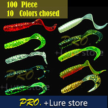 100 pcs plástico Macio worm cauda Grub proteína isca de pesca artificial isca pesca círculo moggot iscas grub isca 4 cm