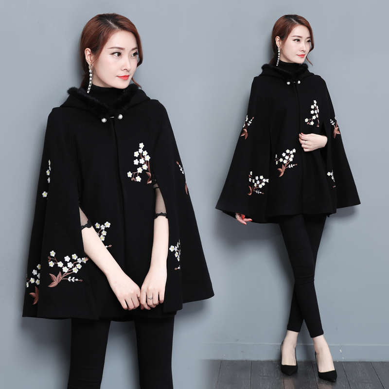 women's clothing embroidery flower windy autumn/winter palace vintage design black cloak cape lady outfit casual costume coat