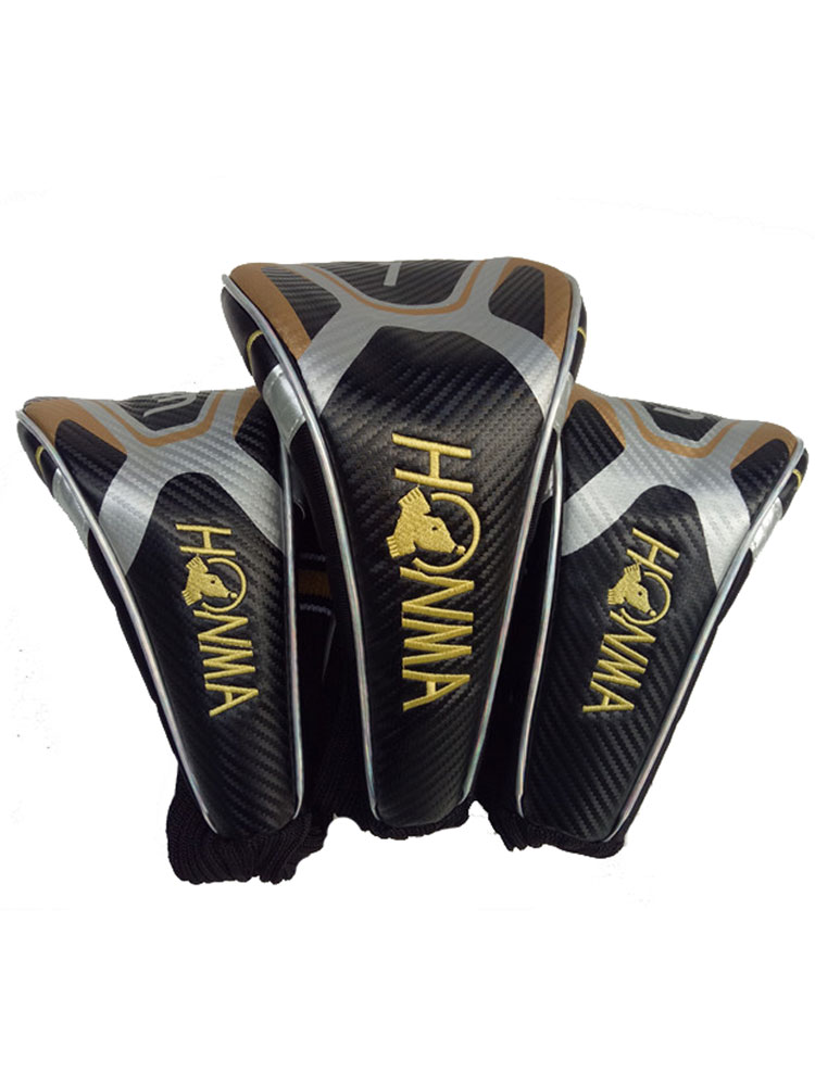 New Mens Golf Wood Head Cover 1 3 5 HONMA Clubs Head Cover Black Colors Golf Wood Driver Head Cover Free Shipping