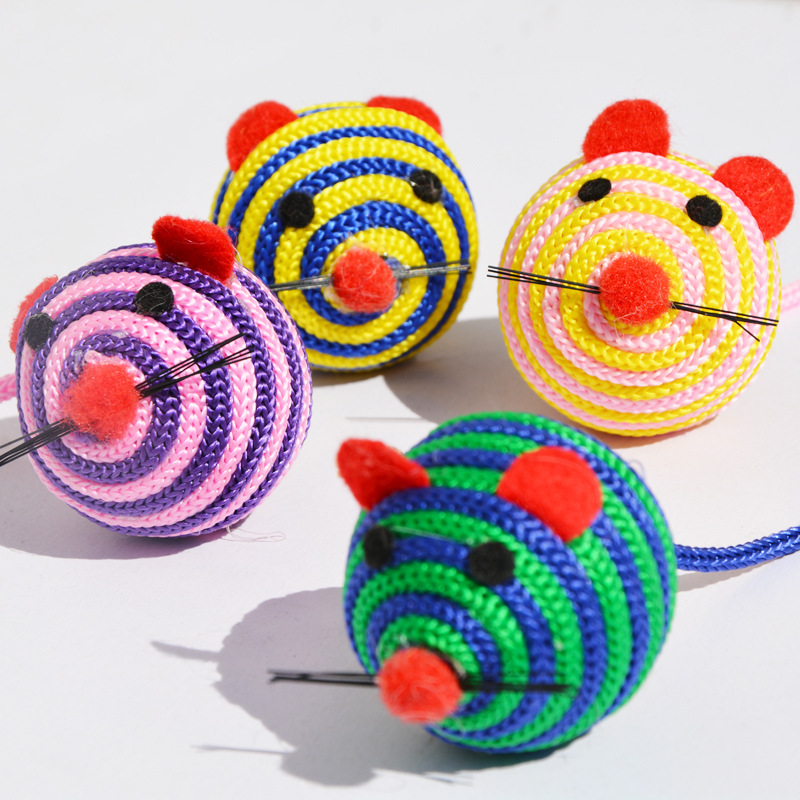 5pcs/lot Mouse Design Cat Toy,Handmade Colorful Balls Toys for Cat