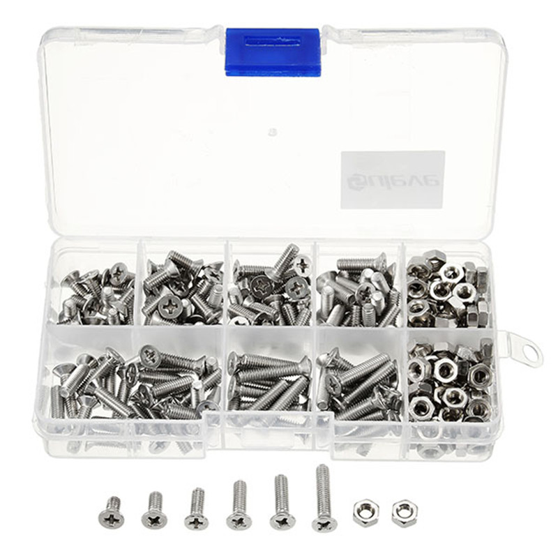 250Pcs/Set M4SP2 M4 Stainless Steel Phillips Flat Head Screws Bolts Nuts Assortment Kit with Box Fastener Hardware t k excellent 2000 pcs fibreboard screws kit flat head q1022 cks head pozi chipboard hardware fastener tools home decoration