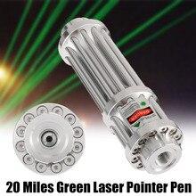 Серебро 532 нм зеленая лазерная указка 20 милей Зеленая лазерная указка ручка лазер масштабируемый луч светильник Фокус регулируемый 0,5 МВт 532 нм подарки
