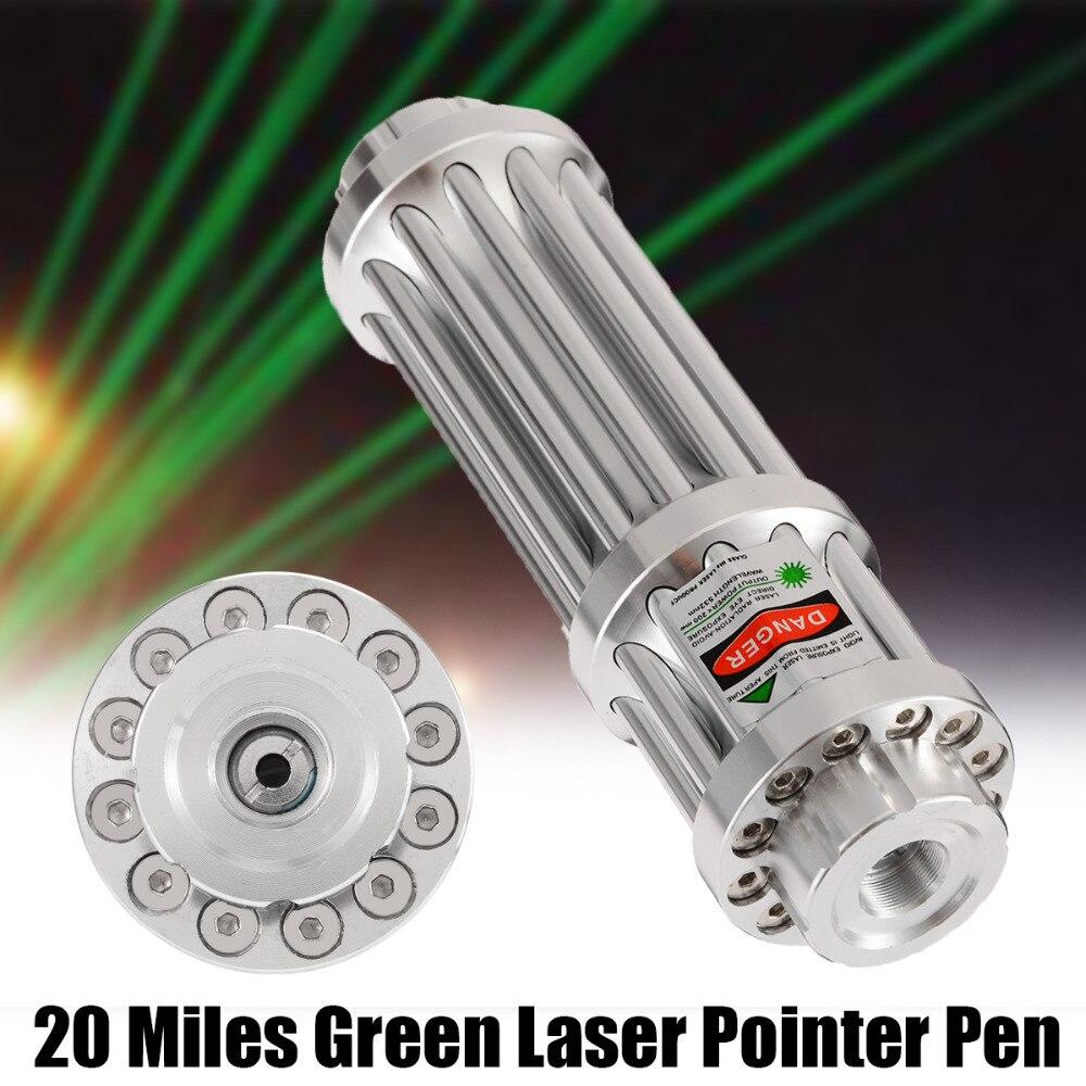 シルバー 532nm グリーンレーザーポインター 20 マイルグリーンレーザーポインターペン Lazer ズーム可能なビームライトフォーカス調整可能な 0.5MW 532nm ギフト