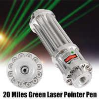 Argent 532nm vert pointeur Laser 20 Miles vert Laser pointeur stylo Laser Zoomable faisceau lumière Focus réglable 0.5MW 532nm cadeaux