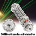 Prata 532nm ponteiro laser verde 20 milhas verde laser ponteiro caneta lazer zoomable feixe luz foco ajustável 0.5 mw 532nm presentes