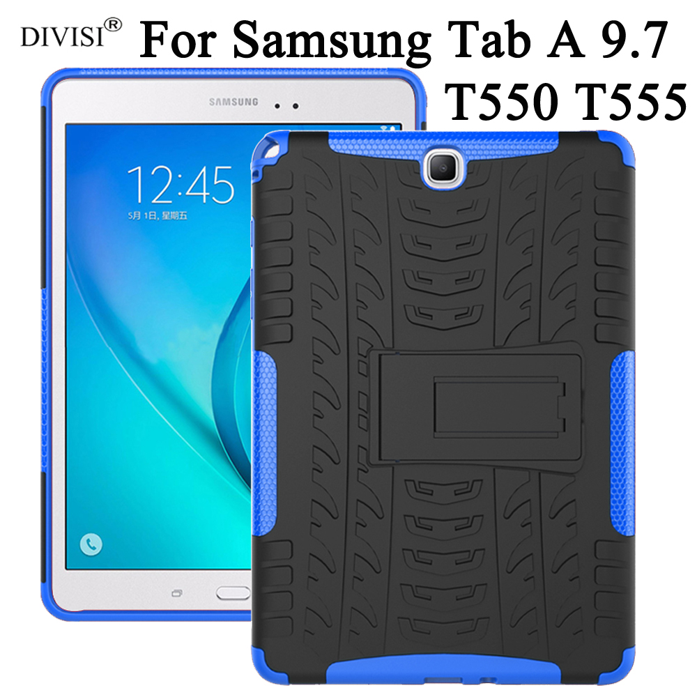 Case For Samsung Galaxy Tab A 9.7 T550 T555 P555 Cover TPU +PC Heavy Duty Rugged Dual Layer Tablet Case Protective Cover Stand