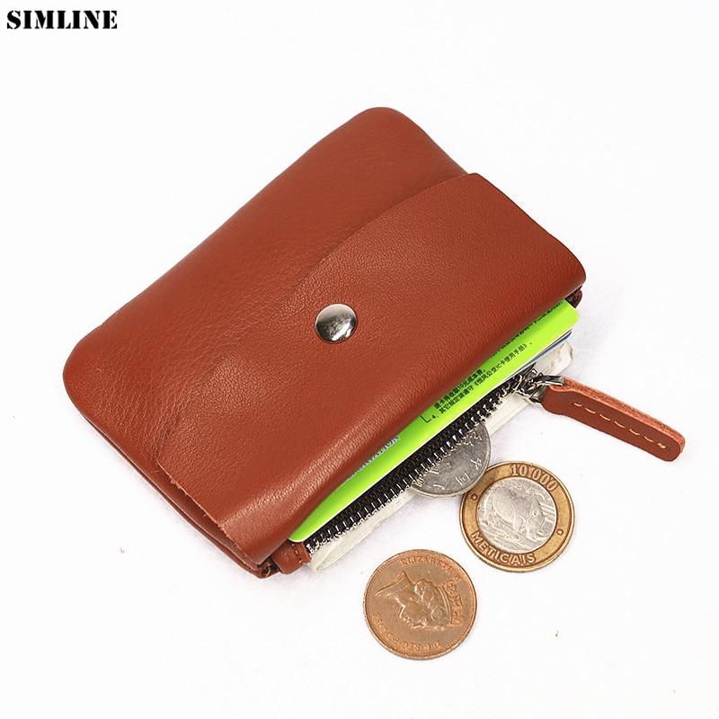 Genuine Leather Wallet Men Women Front Pocket Small Minimalist Slim Short Zipper Wallets Coin Purse Credit Card Holder Pocket