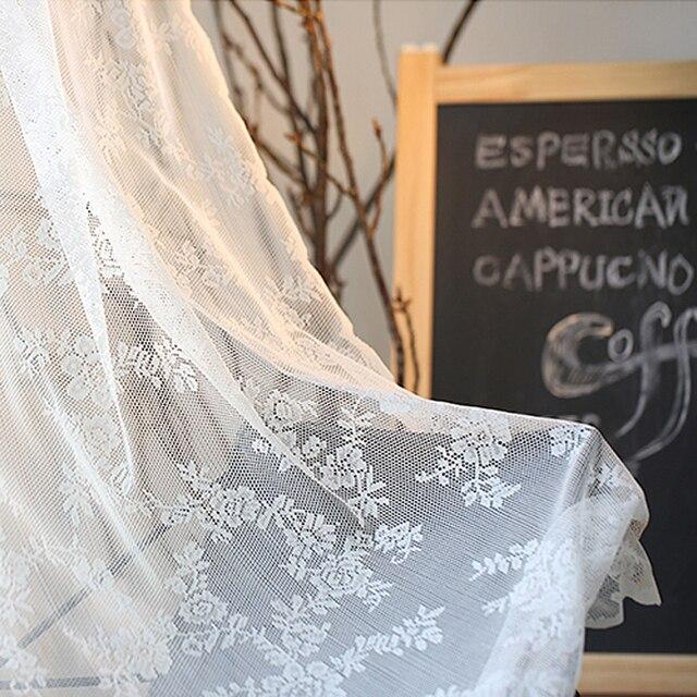 Tende di pizzo Finestra Della Cucina Rustica Home Decor Tendaggi Bianchi Modello di Fiore Breve Tulle Tende Singoli Pannelli