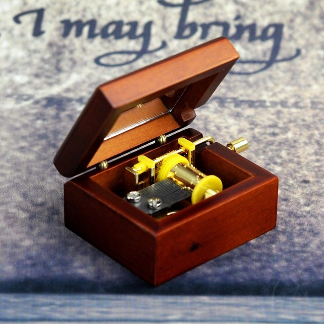 A Music Box Wooden Crafts Christmas Gift Small Craft Products Mini