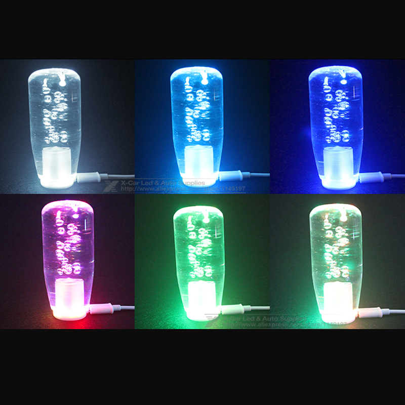 10/15/20/25/30/40CM LED Light Color Changing Crystal Bubble Gear Shift Knob  Manual Shifter Stick With 2 USB Interface Charger In Gear Shift Knob From  ...