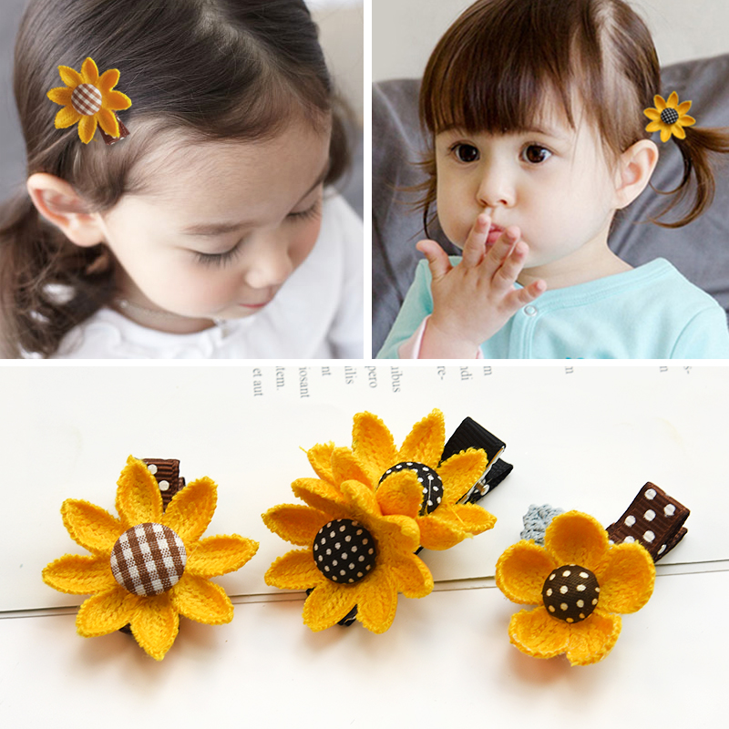 Sweet Sunflowers Baby Hair Ties Rubber Band Hair Clips Girls Seaside Barrettes Headwear Hairpins for Holiday Hair Accessories