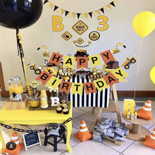 Construction Vehicle Birthday Party Decoration Happy Birthday Banner Bunting for Kids Birthday Party Decor Kids Boy Favors happy birthday dinosaurs party favors for kids cute plush dinosaurs key chain pendant gift for boy girls party decoration