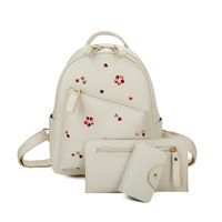 SWDF Girl S Backpack Embroidered Fancy Pattern Students College Three Piece Set Backpack Clutch Card Case