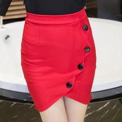 2adcae6906629 Buttons Fish Mouth Slit Design Slim Pencil Mini Skirt Women High Quality Plus  Size Bodycon OL