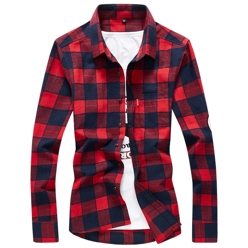 2018 casual men dress long sleeve shirt good quality slim fit plaid luxury brand
