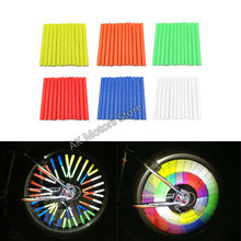 12Pcs Bicycle Riding Wheel Rim Spoke Mount Clip Tube Warning Light Strip Reflector Reflective Mountain Bike цена