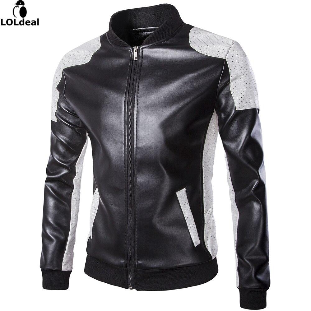 2017 Homme Col montant Patchwork vestes nouveau mans echte en cuir blazer veste classique affaires slim fit veste plus la taille M-5XL