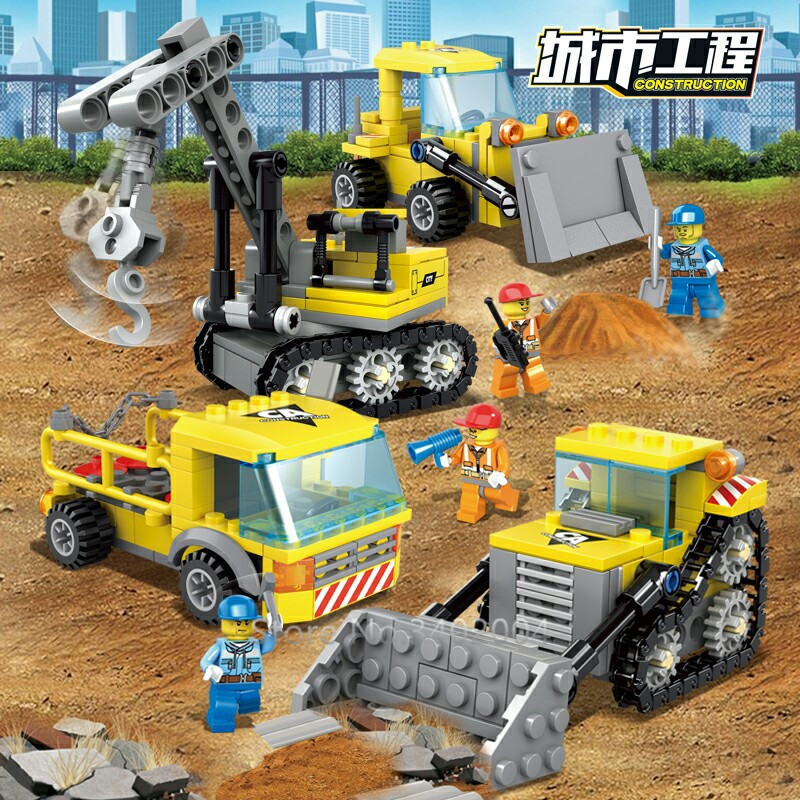 457Pcs City Engineering Heavy Crane Transporter Bulldozer Excavator Bricks Compatible LegoINGL Building Blocks Sets Figures Toys-in Blocks from Toys & Hobbies
