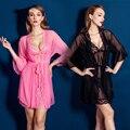 Rosa/Negro Mujeres Midnight Temptation Sheer Lace Opacidad Camisón Erótica Insinúa Sexy Floral Slips Pijamas Traje 2016