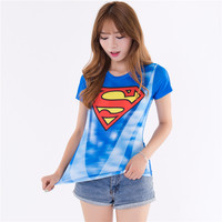 Women Lady T Shirts Superman Captain America Tops Short Sleeve Clothing 2018 New Casual O Neck