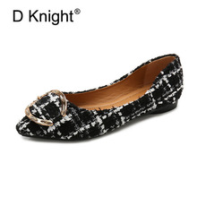 New Plaid Cotton Fabric Women Flats Fashion Basic Pointy Toe Ballerina Ballet Flat Shallow Mouth Slip On Office Lady Work Shoes недорого