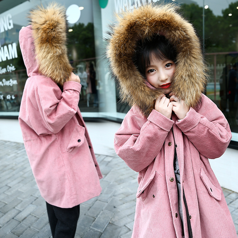 2018 Children Winter Jacket Girls Winter Coat Kids Warm Thick Fur Collar Hooded Long Down Coats For Teenage Winterjas Meisjes 12 baby girls jackets 2018 winter jacket for girls winter coat kids clothes children warm hooded outerwear coats winterjas meisjes