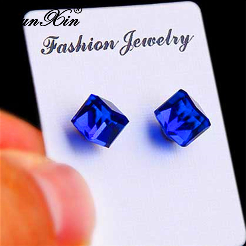 JUNXIN Female Male No Piercing Stainless Steel Magnetic Clip Earrings For Women Men Austrian Crystal Square Earrings Jewelry