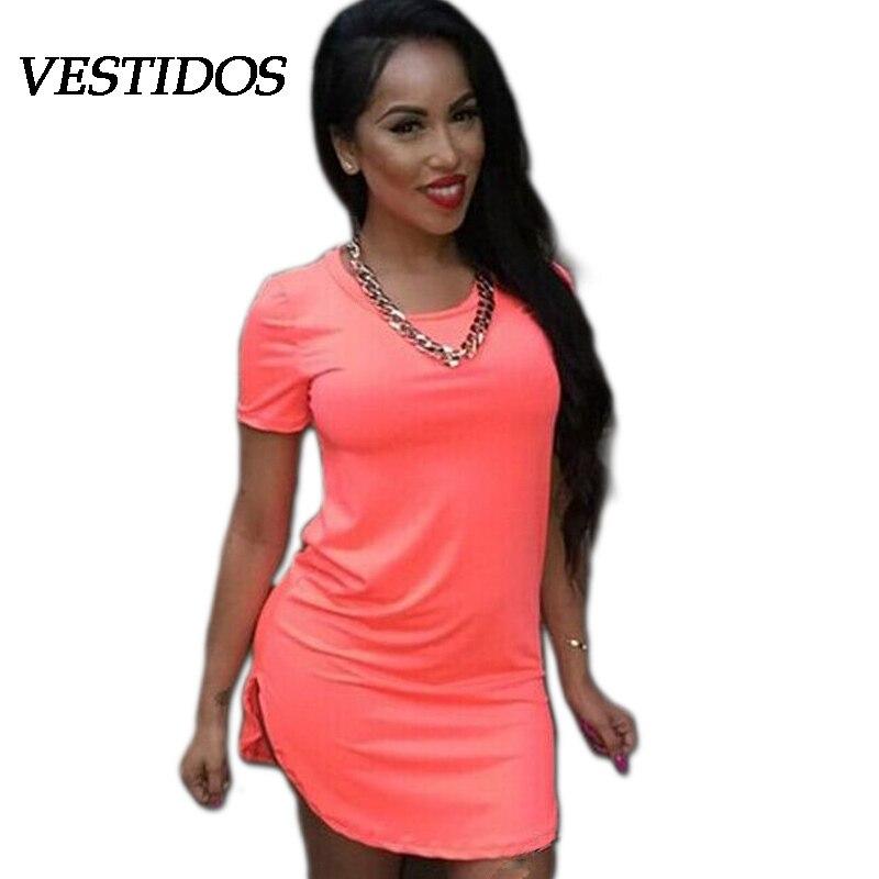c87898a3abe Women Summer White Black Orange Red Dress Casual 2015 Sexy Club Wear Short-Sleeve  T-Shirt Bodycon Party Dresses vestido de festa